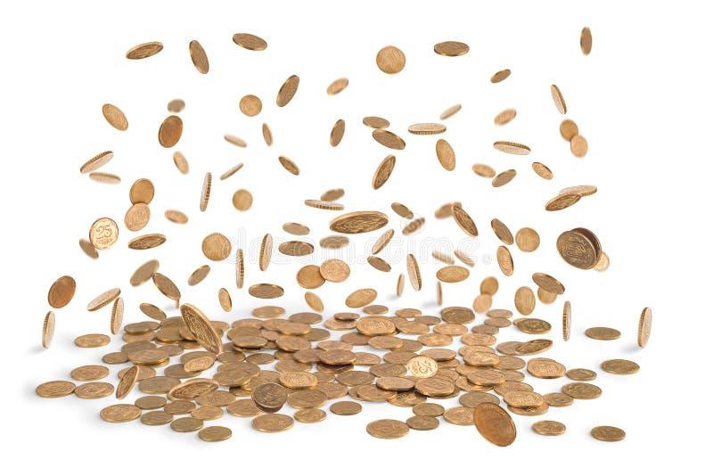 падать монеток золотистый стоковое изображение rf
