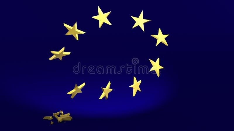 Падающая звезда символизирует Brexit иллюстрация вектора