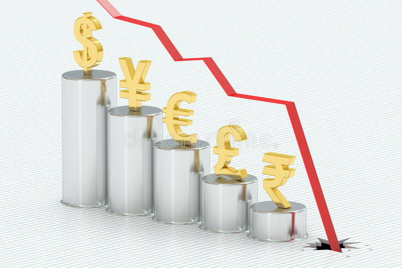 Падая диаграмма в виде вертикальных полос с символами валют, перевод 3D иллюстрация штока