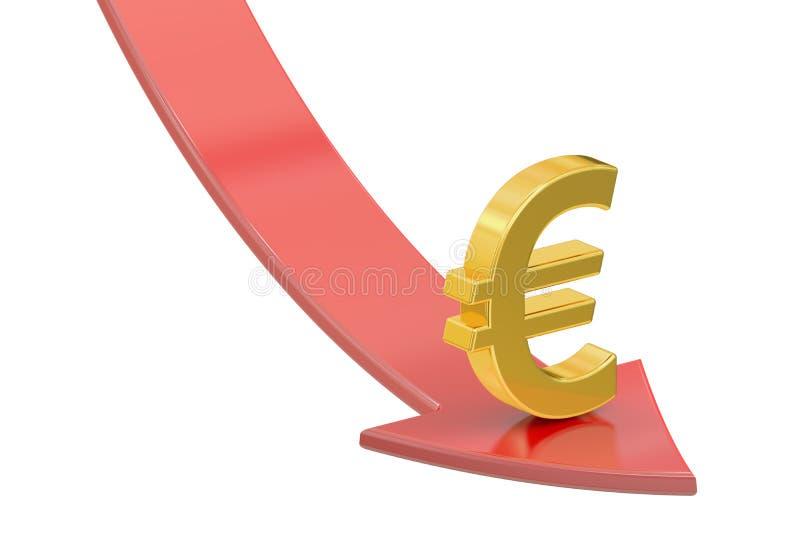 Падая красная стрелка с символом евро, концепции кризиса 3d представляют бесплатная иллюстрация
