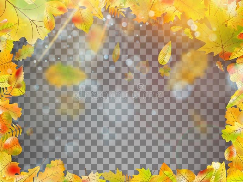 Падая рамка листьев осени Вектор EPS 10 бесплатная иллюстрация