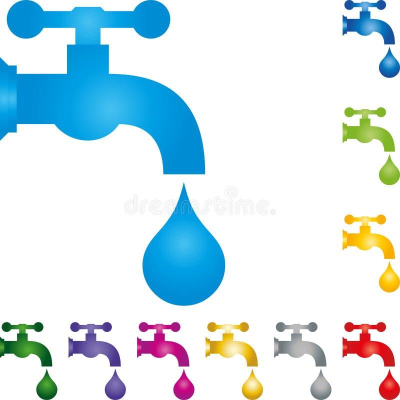 Падение водопроводного крана и воды, логотип водопроводчика иллюстрация штока