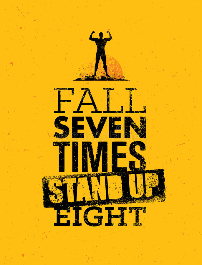 Падение 7 времен, стоят вверх 8 Цитата, сделанное эскиз к художественное произведение вектора бесплатная иллюстрация