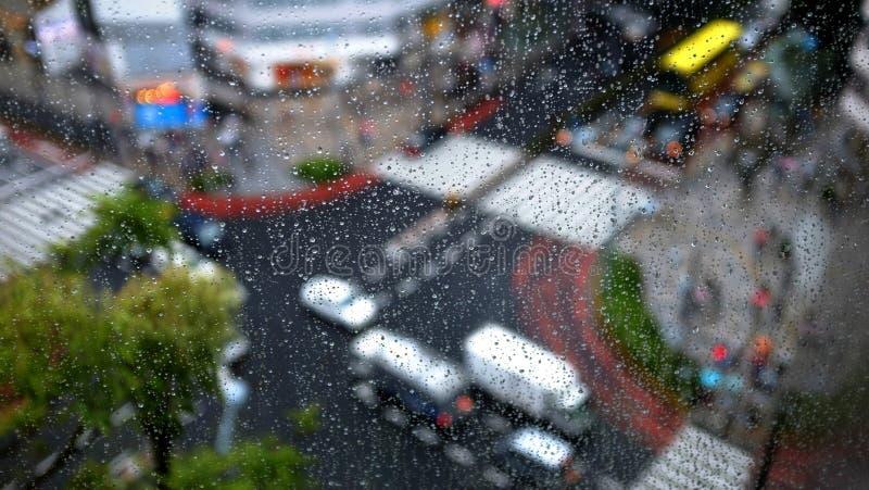 Падение дождя на окне стоковое изображение