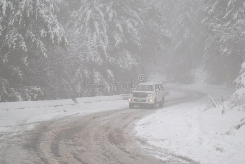 Падение снега на ` 〠Пакистана  road〠ayubia стоковая фотография
