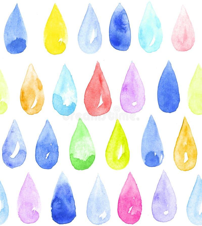 Падения акварели цветов радуги на белой предпосылке Покрашенная вручную безшовная картина иллюстрация штока