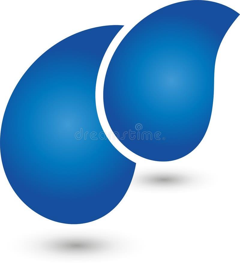 2 падения, вода и логотипа падений иллюстрация штока