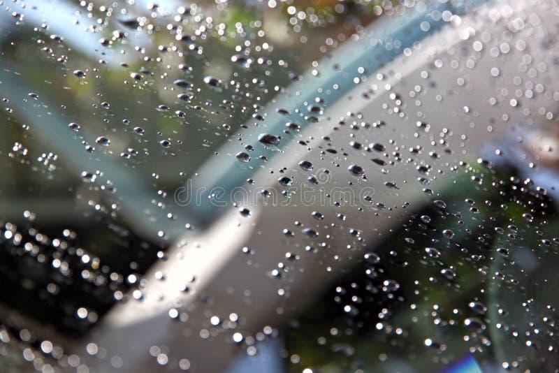 Падения воды на фронте лобового стекла автомобиля. стоковые изображения rf