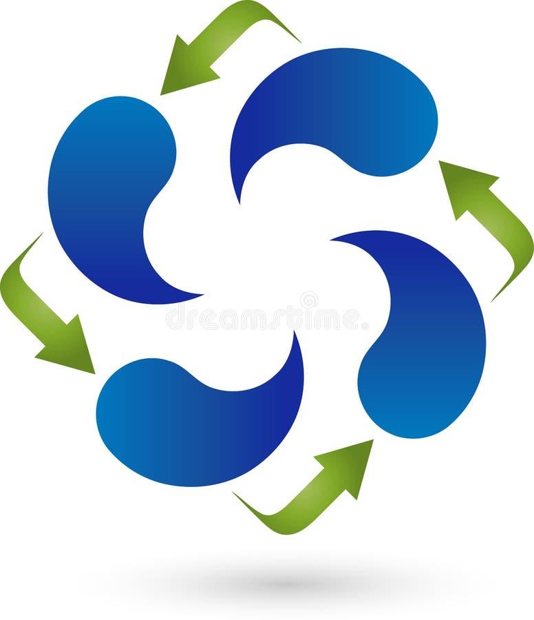4 падения и стрелки воды, вода и логотип энергии иллюстрация вектора