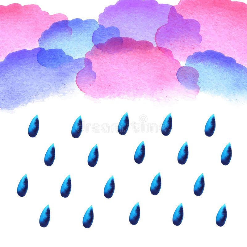 Падения дождя акварели иллюстрация штока
