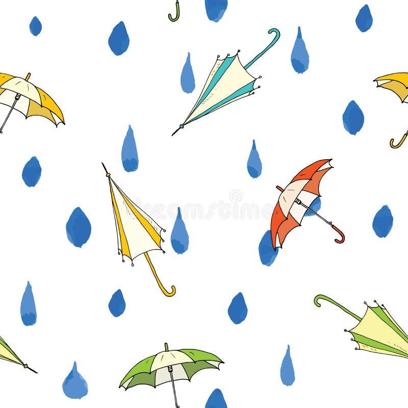 Падения дождя и картина зонтика безшовная Нарисованная рукой иллюстрация вектора бесплатная иллюстрация