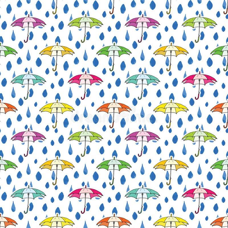 Падения дождя и картина зонтика безшовная Нарисованная рукой иллюстрация вектора иллюстрация штока