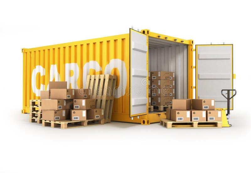 Паллеты открытого контейнера с коробками и ручной тележкой иллюстрация штока