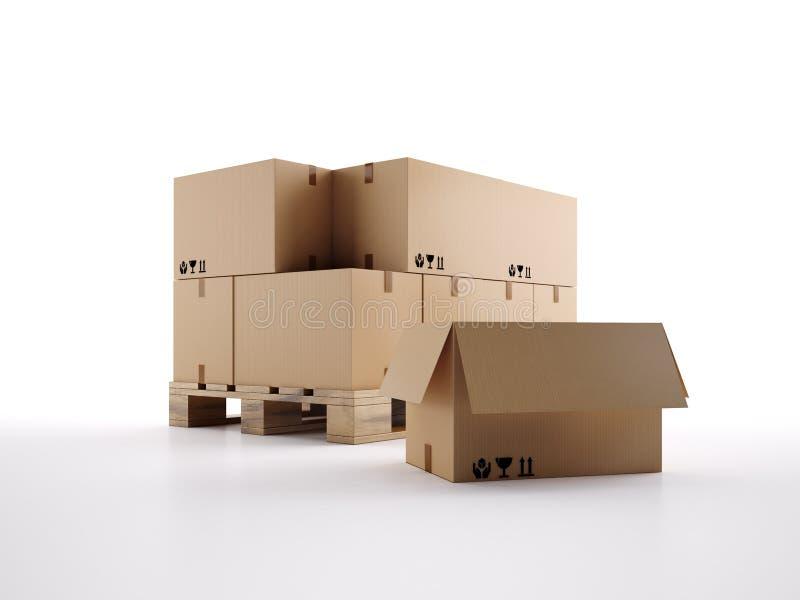 Паллет картонных коробок 3d представляет иллюстрация вектора
