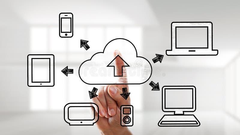 Палец используя интерфейс сенсорного экрана для деятельности облака вычисляя стоковое фото