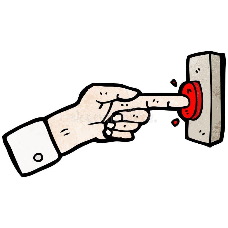 палец шаржа отжимая кнопку иллюстрация вектора