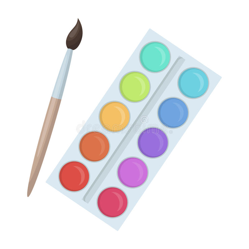 Палитра с красками и щеткой Краска в школе Значок школы и образования одиночный в шарже вводит запас в моду символа вектора иллюстрация вектора