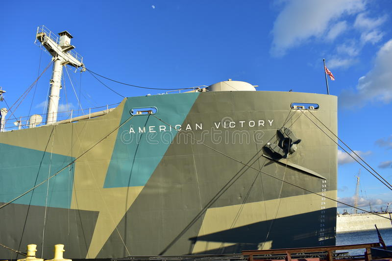 Палуба американского корабля победы кормовая стоковая фотография rf