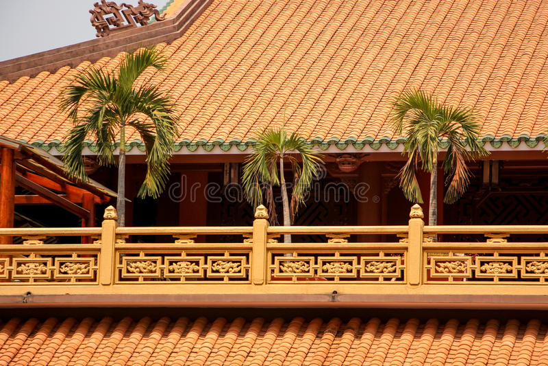 Пальма на крыше виска стоковые фотографии rf