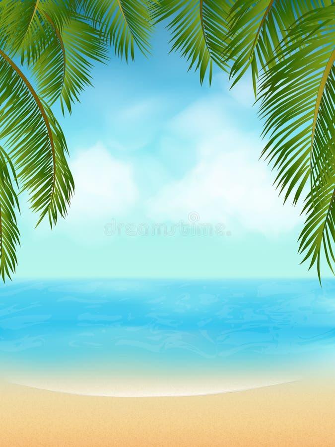пальма пляжа тропическая иллюстрация штока