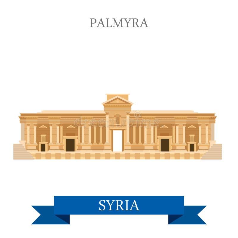 Пальмира в ориентир ориентирах Азии перемещения привлекательности вектора Сирии плоских иллюстрация вектора