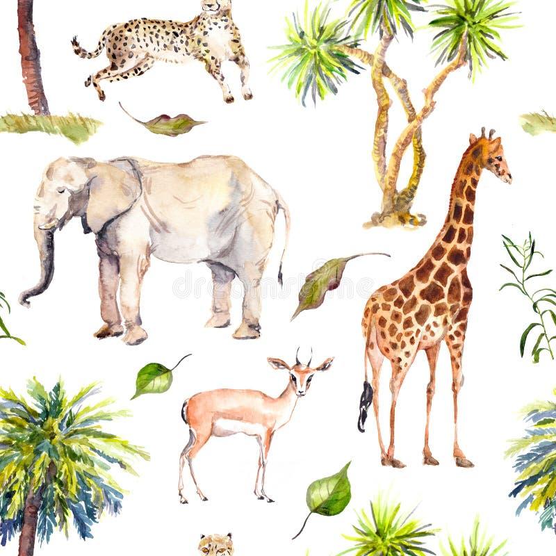 Пальмы и животные саванны - жираф, слон, гепард, антилопа Картина зоопарка безшовная акварель иллюстрация штока