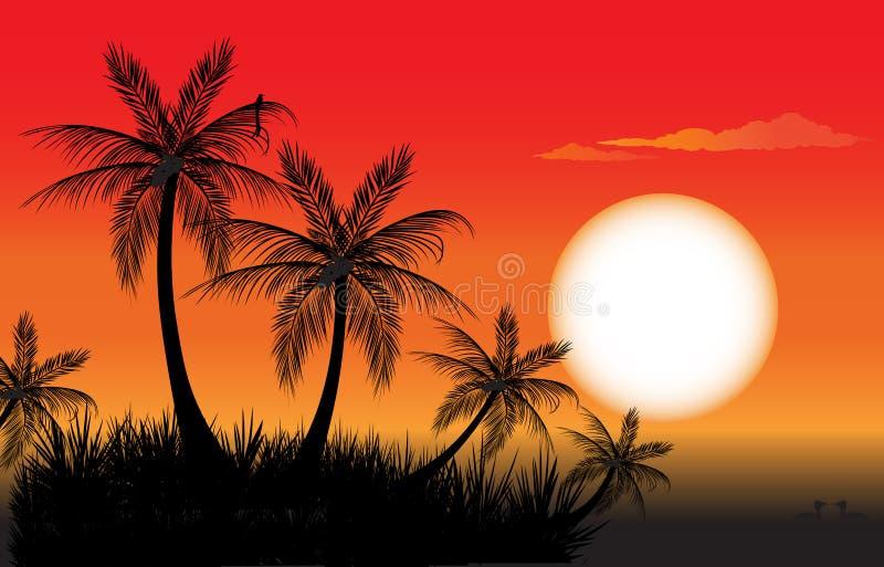 Пальмы на заходе солнца иллюстрация вектора