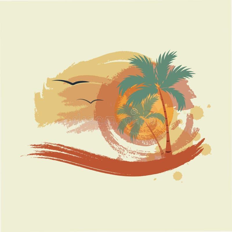 Пальмы, солнце и чайки иллюстрация штока