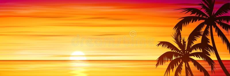 Пальмы с заходом солнца, восходом солнца иллюстрация штока