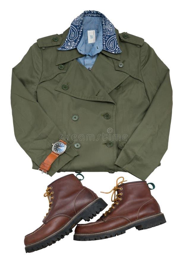 Пальто вскользь человека моды установленные воинские/рубашка chambray стоковая фотография rf