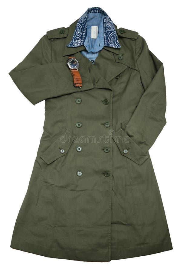Пальто вскользь человека моды установленные воинские/рубашка chambray стоковые фото