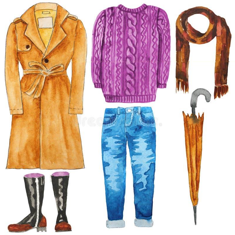 Пальто канавы Джинсыы Зонтик свитер шлямбур шарф ботинки Нарисованная рукой иллюстрация акварели бесплатная иллюстрация