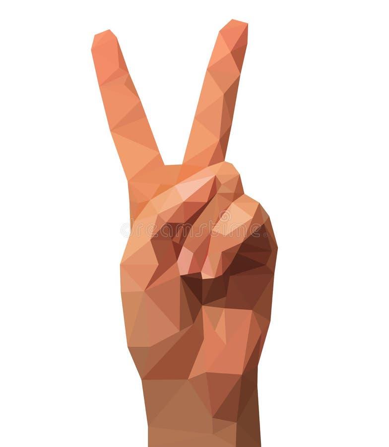 2 пальца победы метки руки полигональной низкой поли выигрывая иллюстрация вектора