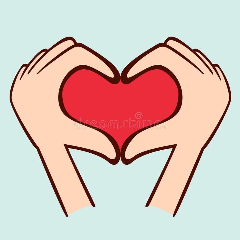 Пальцы делая форму сердца иллюстрация вектора