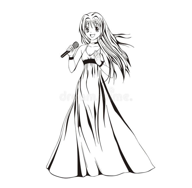 Певица девушки Anime иллюстрация штока