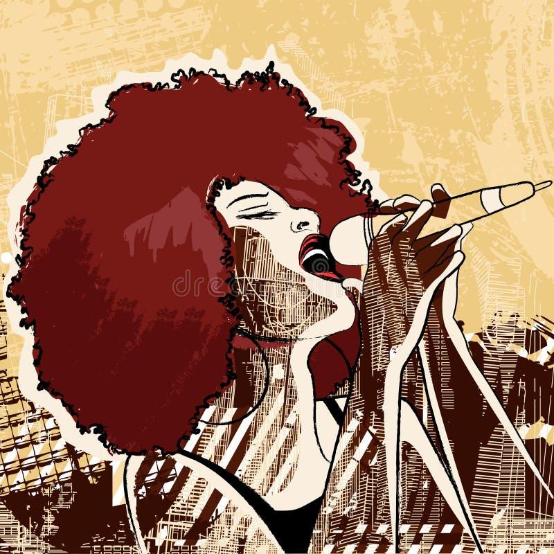 Певица джаза иллюстрация вектора