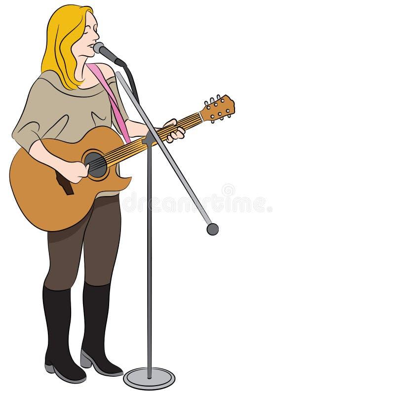 Певица женской страны западная иллюстрация вектора