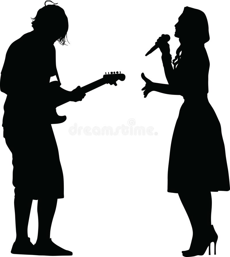Певица и гитарист стоковые фото