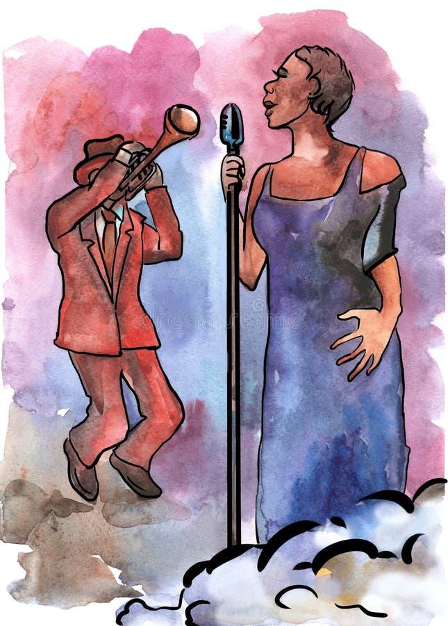 Певица и трубач джаза иллюстрация штока