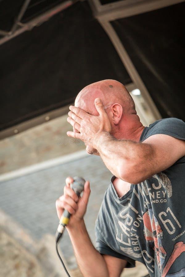 Певица для рок-концерта стоковое фото