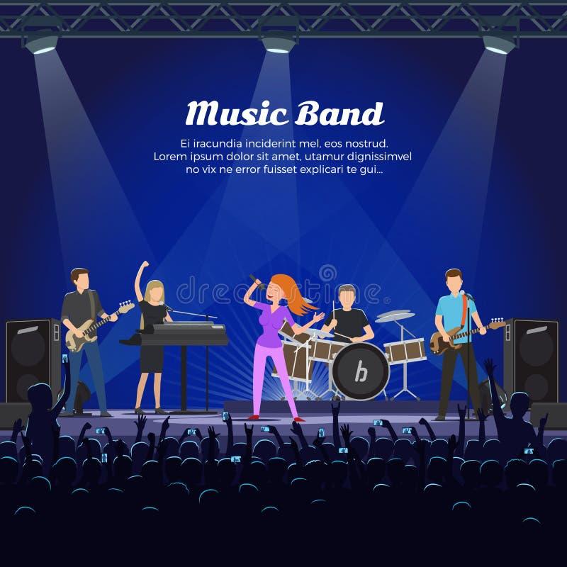 Певицы и музыканты диапазона музыки с аппаратурами иллюстрация вектора