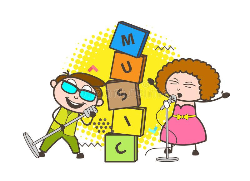 Певицы мальчика и девушки шаржа молодые поя в векторе события иллюстрация штока