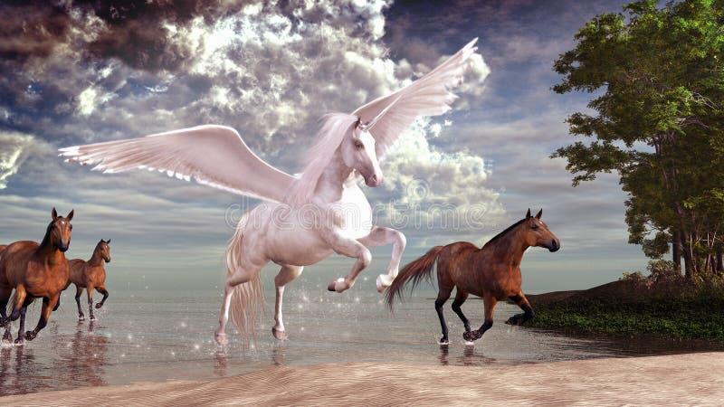 Пегас и лошади иллюстрация штока