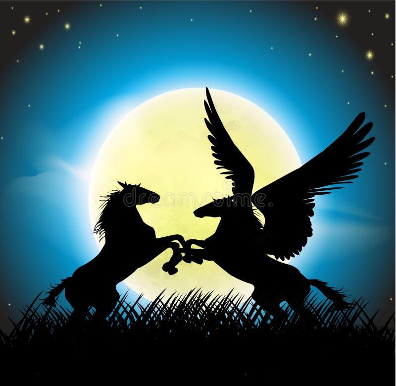 Пегас с лошадью мустанга иллюстрация штока