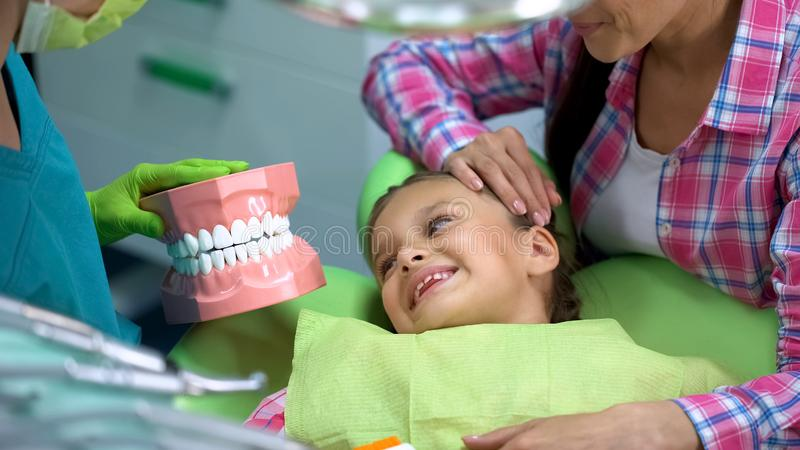 Педиатрический дантист показывая меньшей усмехаясь девушке искусственную модель челюсти, образование стоковое изображение rf