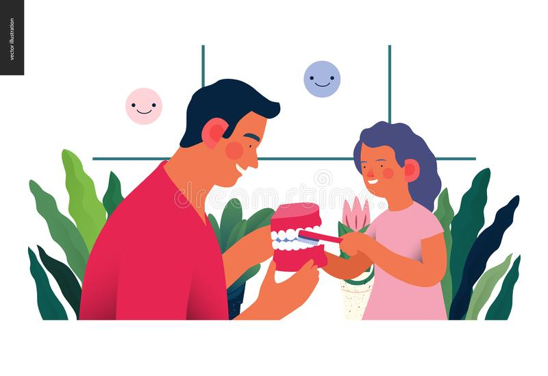 Педиатрическое зубоврачевание - иллюстрация медицинского страхования бесплатная иллюстрация