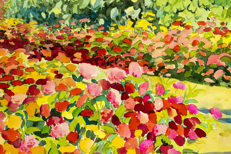 Пейзажная живопись абстрактной акварели первоначально красочная красоты цветет бесплатная иллюстрация