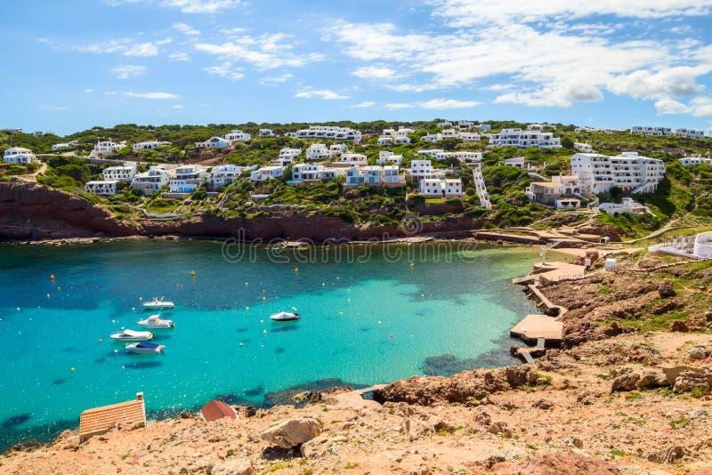 Пейзаж бухты Cala Morell стоковая фотография rf