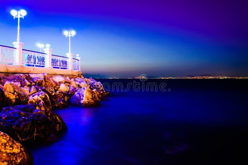 Пейзаж вечера океана лета стоковые фотографии rf