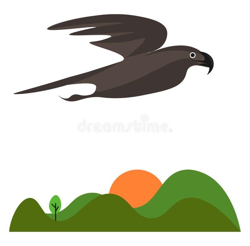 пейзаж восходящего солнца и орел, летящий над зеленым вектором луга или цветной иллюстрацией бесплатная иллюстрация
